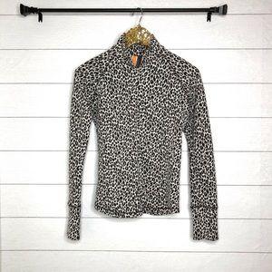 Lucy Leopard Print Half Zip Pullover